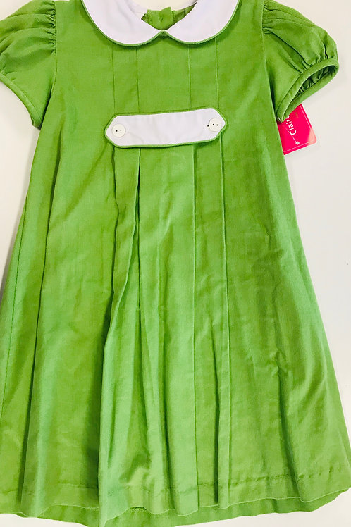 Claire and Charlie Green Cord Tab Dress