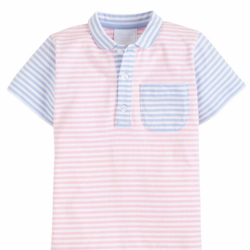 Little English Pink and Blue Striped Pocket Polo