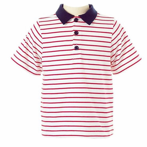 Rachel Riley Red Striped Polo with Navy Collar