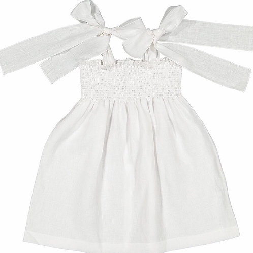 Sal & Pimenta White Linen Jasmin Bow Dress size 7, 8