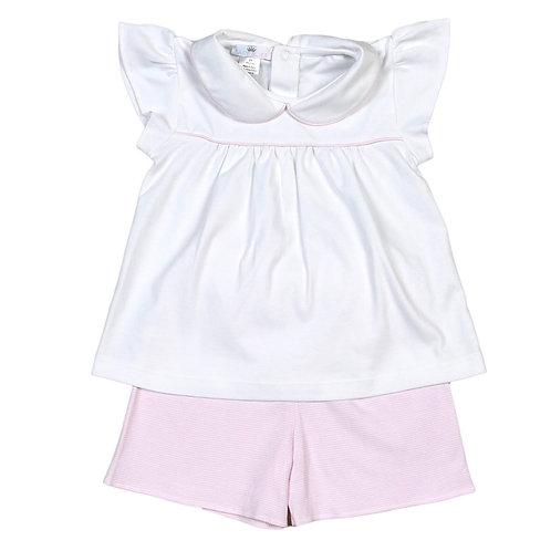 Baby Bliss Pima Pink Stripe Short Set