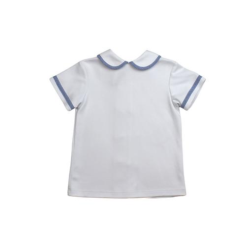 Lullaby Set Royal Gingham Trimmed  Sibley Knit Shirt