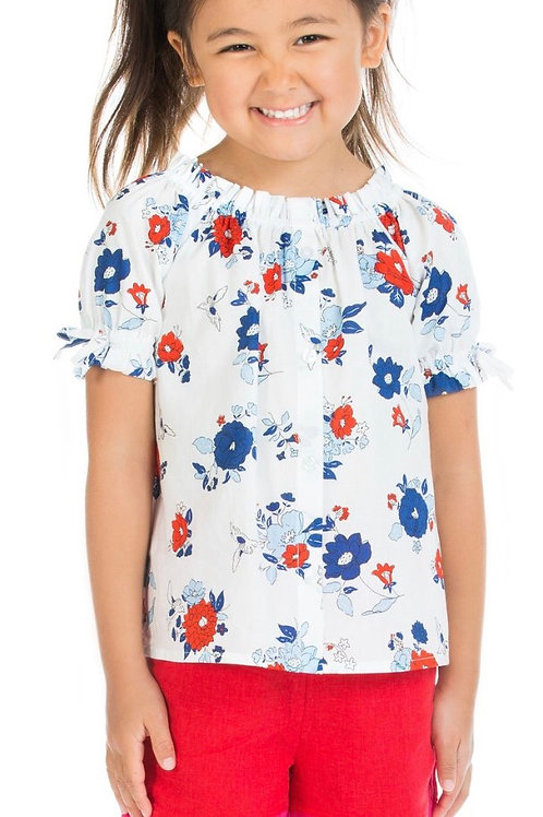 Bisby Kids Millie Top in Patriotic Floral
