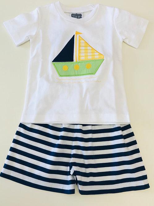 True Sailboat Applique Short Set 18 mo