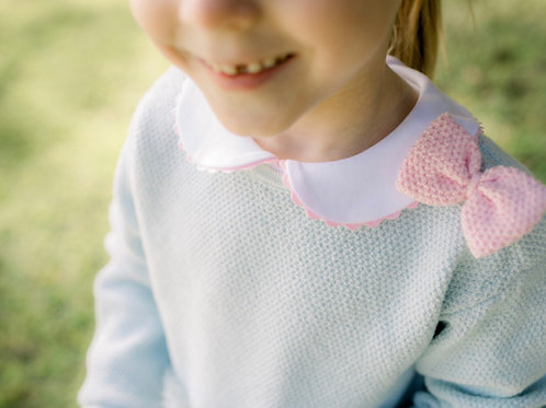 Lullaby Set Light Blue and Pink Bow Sweater