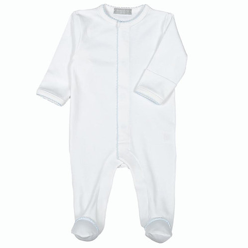 Baby Bliss Pima Footie with Blue Trim