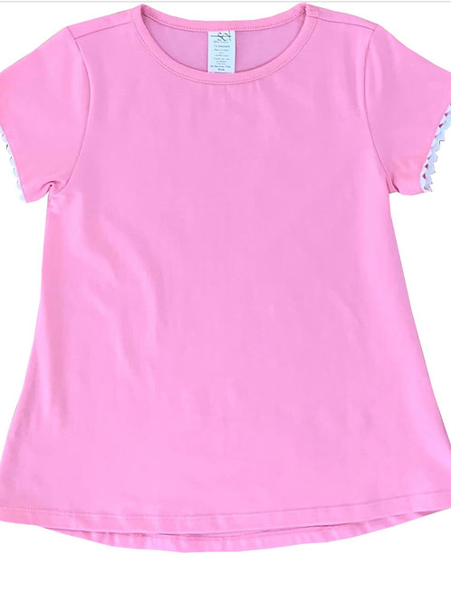 Set Athleisure Pink with White Ric Rac Knit Bridget Shirt