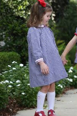 Lullaby Set Navy Gingham Dress with Red Piping