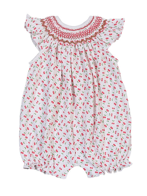 Baby Bliss Pima Cherry Smocked Bubble