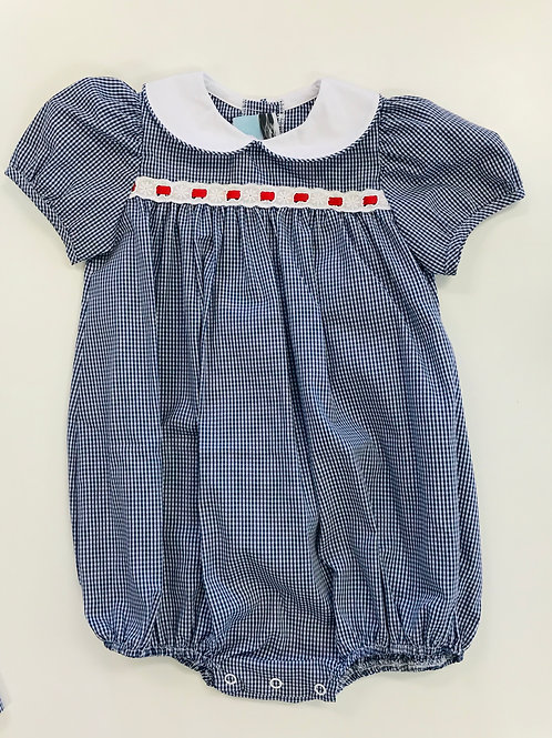 Lullaby Set Navy Gingham Bubble with Eyelet/Red Ribbon Trim