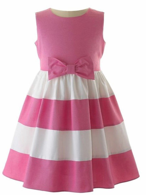 Rachel Riley Hot Pink and White Panel Dress