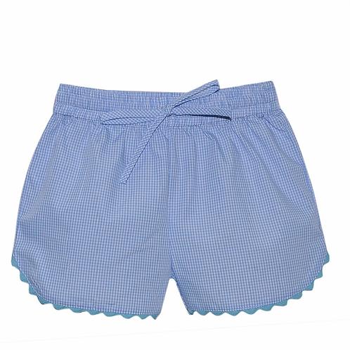 Lullaby Set Ric Rac Shorts-Light Blue Gingham with Aqua 2t