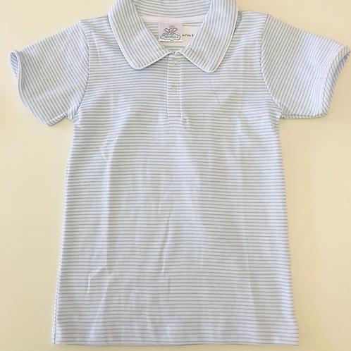 Bambinos Light Blue Stripe Pima Polo 3t, 5, 6