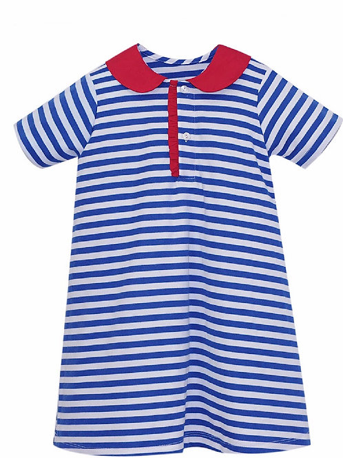 Lullaby Set Playful Polo Dress in Royal and White with Red Ruffle Collar