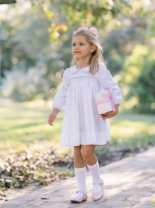 Lullaby Set Blue and Pink Smocked Dress