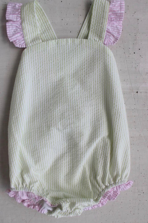 Little English Bow Back Swimsuit-Green and Pink 4t
