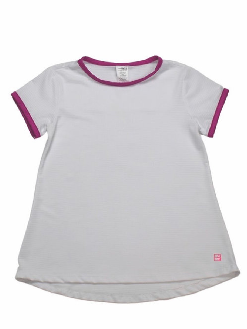 Set Athleisure Bridget Athletic Top-White with Hot Pink Trim