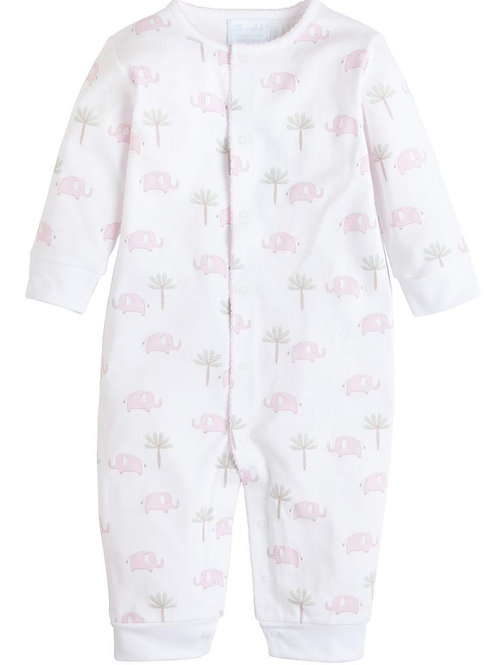 Little English Pink Elephant Pima Footed Romper 6, 9 mo
