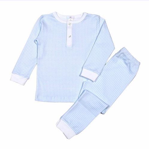 Baby Bliss Light Blue Gingham Pima Pajamas
