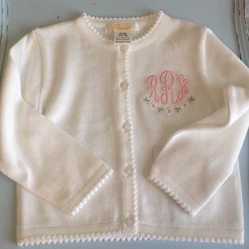 Petit Ami White Cardigan Sweater with Scallopped Edge