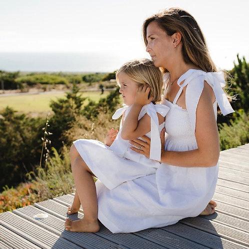 Sal & Pimenta Mom White Linen Jasmin Bow Dress