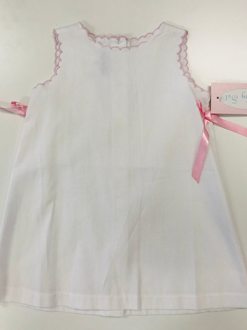 Lullaby Set White Scallopped Dress with Pink Trim size 5-Plain Front