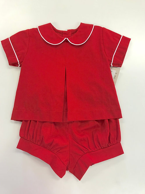 The Oaks Red Cord Banded Short Set 18,24 mo