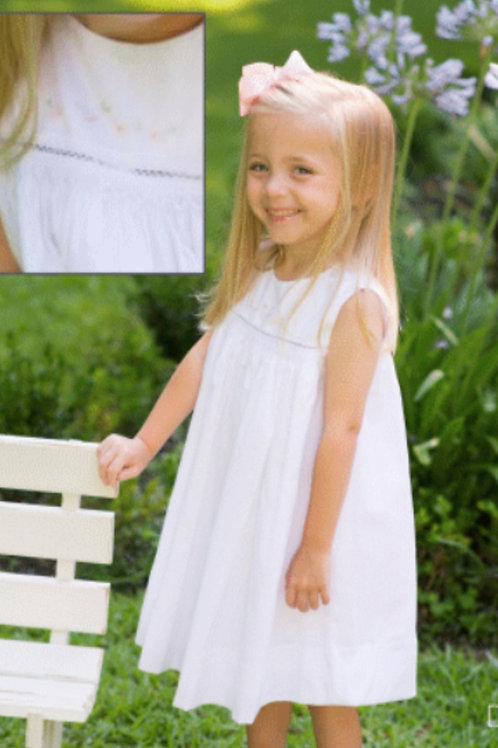 Lullaby Set White Smocked Dress with Flowers