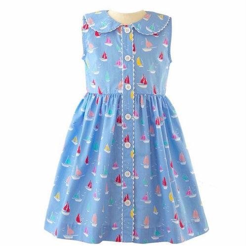 Rachel Riley Sailboat Button-Front Dress