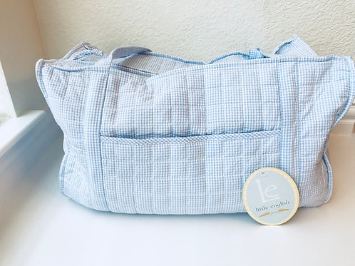 Little English Light Blue Gingham Duffel