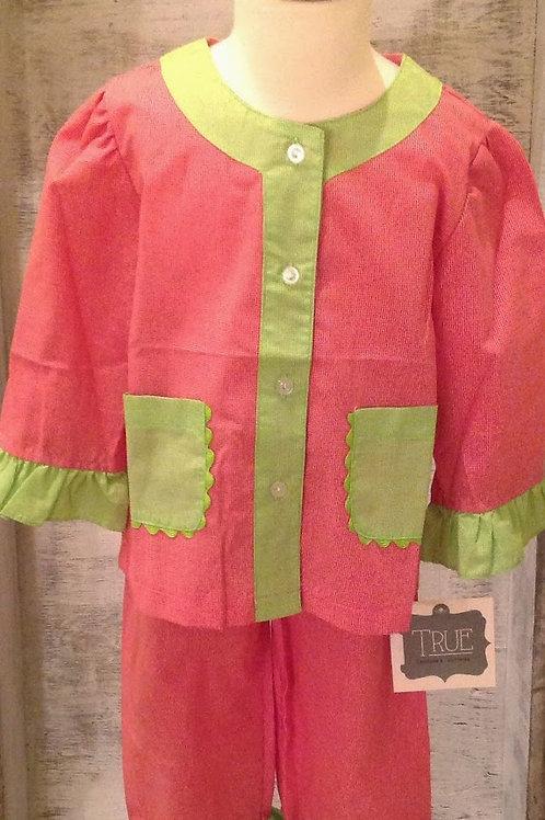 Girls Red and Lime Ric Rac Pajamas