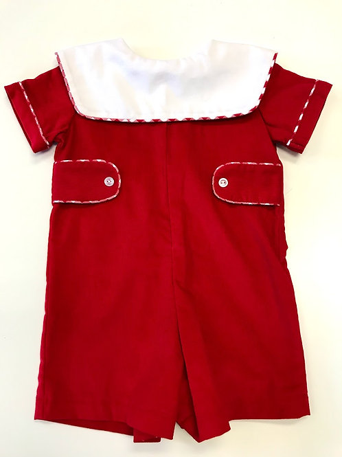 Anvy Kids Red Cord Shortall with Gingham Trim