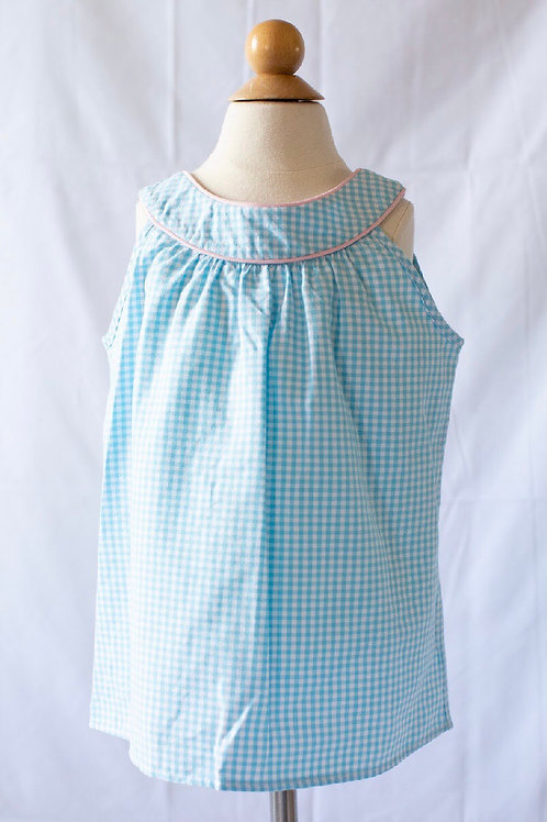 Peggy Green Pond  Gingham Sara Top with Pink Piping