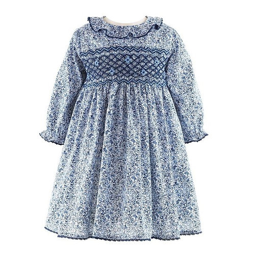 Rachel Riley Navy Lace Trim Ditsy Floral Smocked Dress