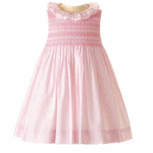 Rachel Riley Pink Lace Trimmed Smocked Dress & Bloomer