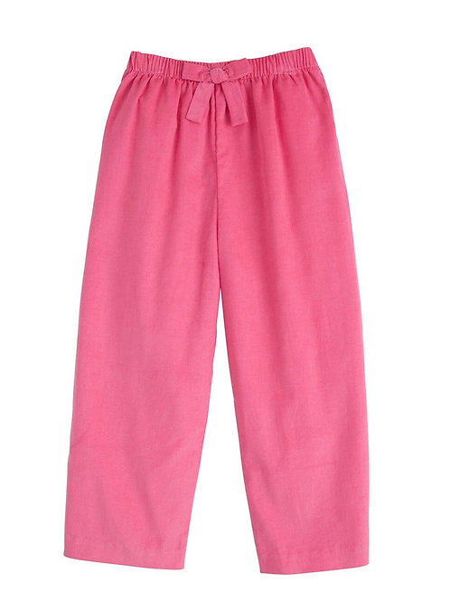 Little English Hot Pink Bow Cord Pants