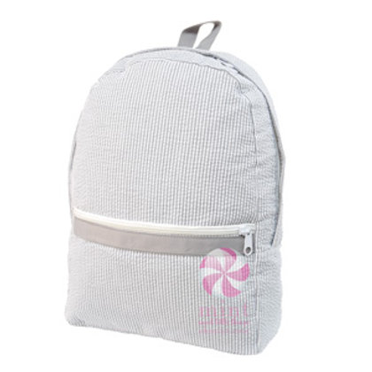 Grey Seersucker Medium Backpack by Mint