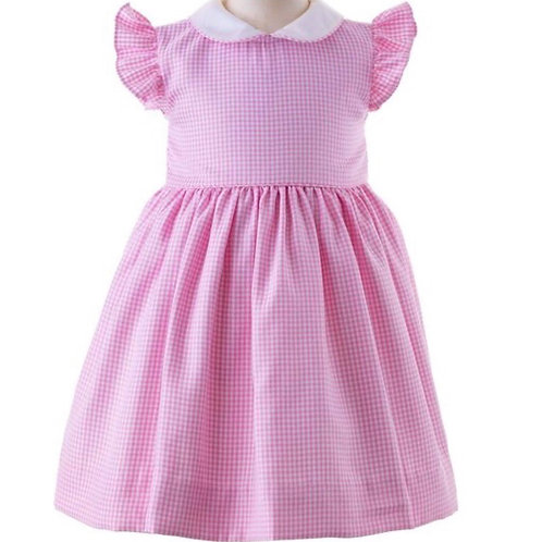 Rachel Riley Pink Gingham Frill Sleeve Dress and Bloomers