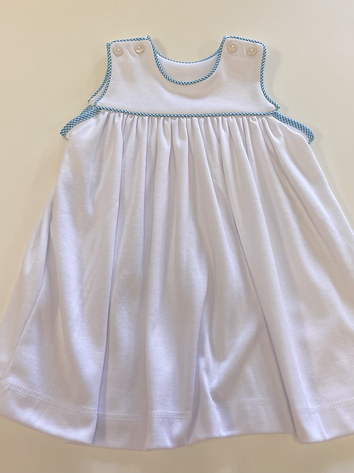 Lullaby Set white knit dress with teal gingham trim