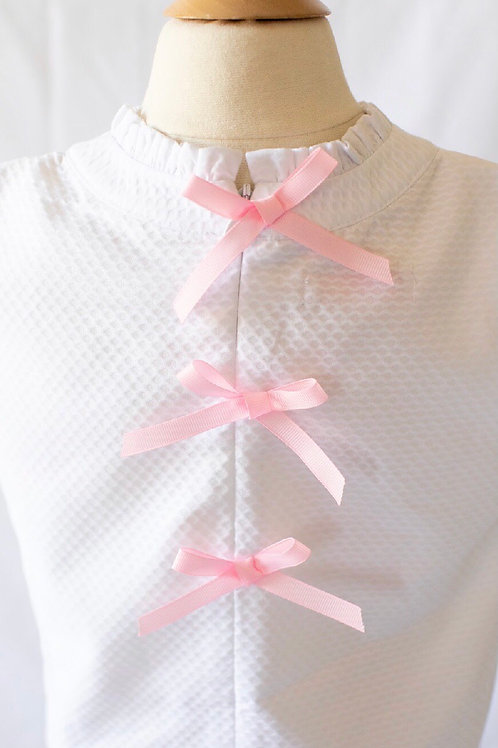 Peggy Green White Pique Tucker Top with Pink Grosgrain Bows