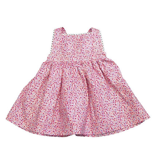 Cuclie Pink Floral Pinafore Dress with Bloomer