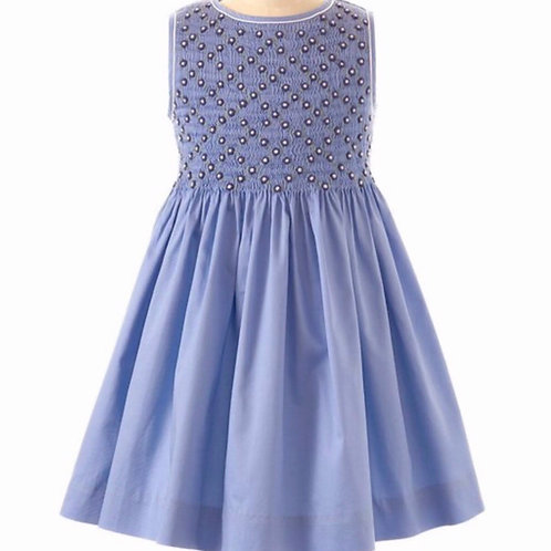 Rachel Riley Blue Smocked Dress