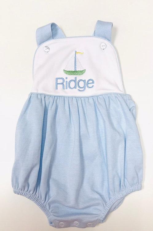 Baby Bliss Pima Blue Striped Sun Bubble