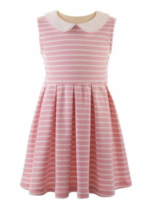 Rachel Riley Breton Pink Striped Jersey Dress