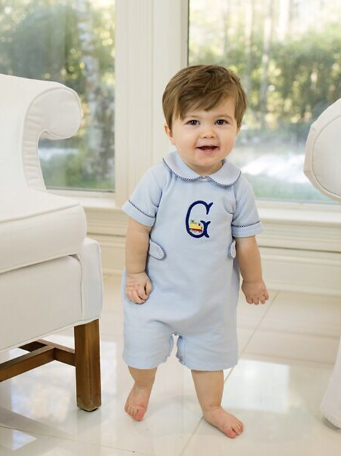 Lullaby Set Light Blue Pique Romper with Royal Trim(9 mo)