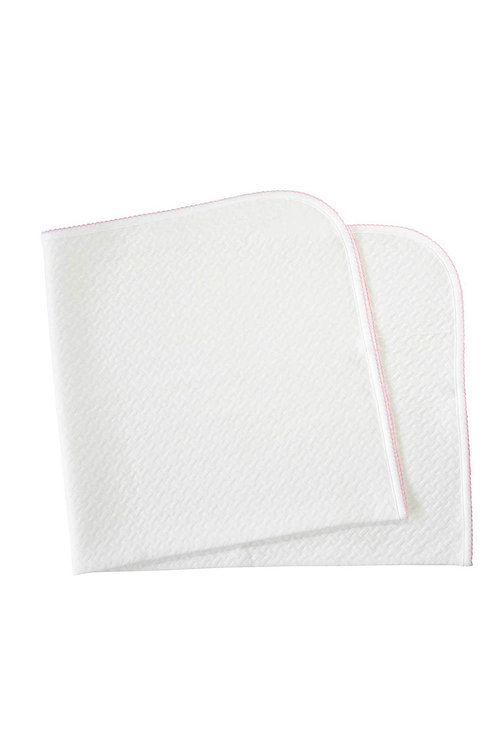 Nella Pima White Quilted Blanket with Pink Trim