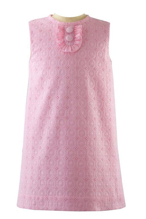 Rachel Riley Pink Broderie Shift Dress