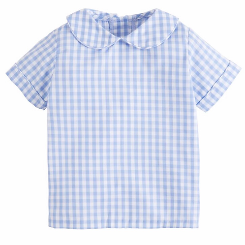 Little English Blue Gingham Peter Pan Shirt 2T