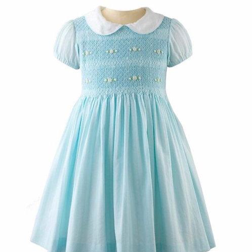 Rachel Riley Aqua Flower Smocked Dress