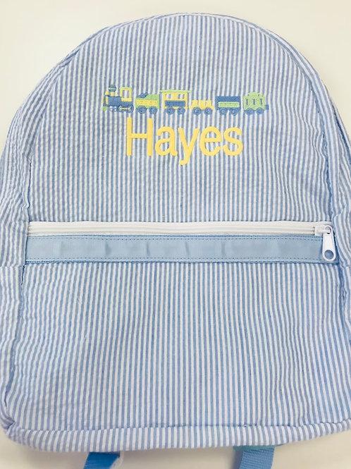 Light Blue Seersucker Medium Backpack